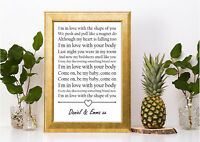 ed sheeran shape of you lyric personalised gift a4 print valentines anniversary