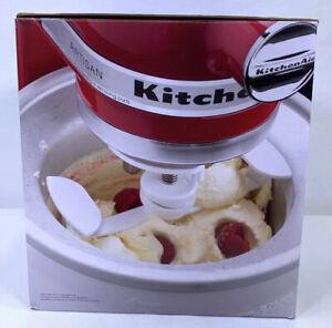 KitchenAid Ice Cream Sorbet Maker Stand Mixer Attachment White KICA0WH 2 Qt