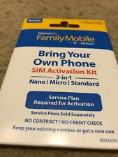 walmart Family Mobile sim card bring your own phone nano 3/1 new