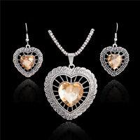 Hot Thai Silver CZ Rhinestone Vintage Romantic Heart Necklace Earrings Jewel Set
