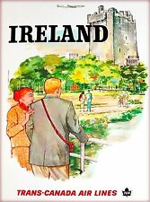 Ireland Irish Trans-Canada Airlines Vintage Travel Advertisement Poster Print
