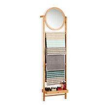 Relaxdays Porte-serviette Bambou avec Miroir 4 Barres Porte-serviettes Salle ...