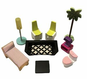 Lot 10 Kidkraft Dollhouse Furniture Couch Tables Chairs 1 Working Lamp Toilet
