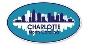 Charlotte City Skyline Oval Car Vinyl Sticker - SELECT SIZE