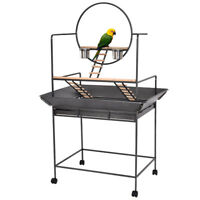 Pet Bird Parrot Stand Perch with Play Ring Ladders Feeding Cups Rolling Casters