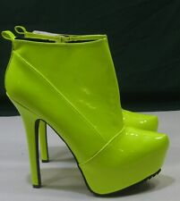 """Neon Yellow 6""""Stiletto high heel 2""""PLATFORM pointy toe sexy ankle boot Size  7"""