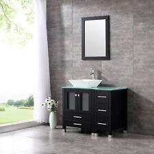 "36"" Bathroom Wooden Vanity Ceramic Sink Bowl Wood Cabinet Glass Top w/ MirrorSet"