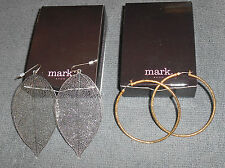 STYLISH AVON MARK 2-PC LOT LACY LEAF EARRINGS & SOPHISTICATE HOOP EARRINGS NOS