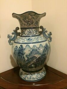 Collectibles oriental blue and white porcelain vase