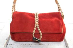 BURBERRY SUEDE HAYMARKET CHECK HORN TOGGLE BAG RED MINT FIRST CLASS