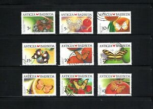 Antigua & Barbuda -- 9 diff used from 1988 -- Butterflies -- cv $7.80