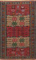 Tribal Geometric Kilim Wool Hand-Woven Oriental Area Rug Kitchen Carpet 4x6 ft