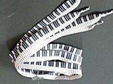 Piano Keys Black White Shoe Laces 20mm 125cm Long by Flirt H5