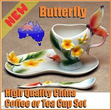 NEW Ceramics Fine China Butterfly Coffee Tea Cup Saucer Set Christmas Xmas Gift
