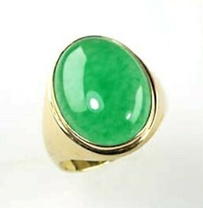 5.35 Ct. Natural Green Jade Unisex Ring, Yellow Gold Over, 925 Sterling Silver