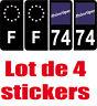 4 Autocollants 2 paires Stickers style Auto Plaque Black Edition noir F+ 74