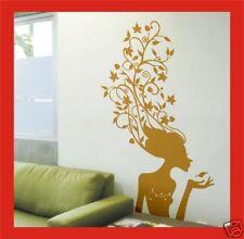 Femme Fleur Plant Stickers Muraux H5 Sticker Mural - 100cm