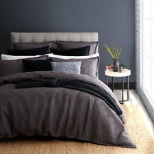 ROYAL DOULTON KALVIN CHARCOAL King Size Bed Doona Duvet Quilt Cover Set