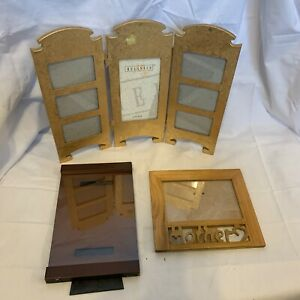 3 Wooden Photo Picture Frames with Glass Inserts - Lot of 3 Variety of sizes