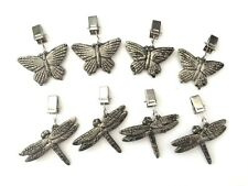 Set Of Four Clip On Antique Silver Garden Tablecloth Weights Dragonfly Butterfly