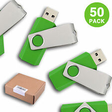 50PCS 4GB Green USB 2.0 Flash Drive Swivel Memory Sticks Thumb Pen Drive Storage
