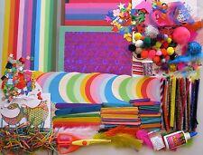 Kids Craft Kit Bulk Items Pom Poms Glitter Paper Feathers Sticks Chenille Stems+