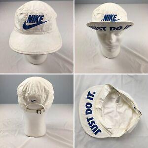 VTG NIKE Just Do It flip up bill strapback hat white running cycling Spike Lee