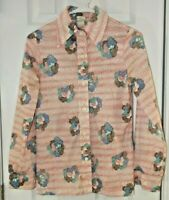 AILEEN VINTAGE Boho SHIRT - Womens Size 12 - Butterfly Collar Button Up 60s 70s