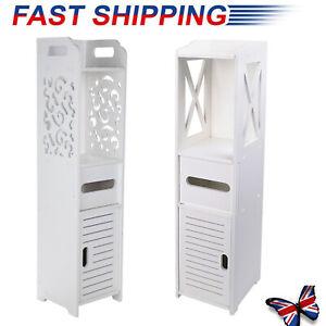 Wooden Bathroom Shelf Cabinet Cupboard Bedroom Storage Unit Free Standing White