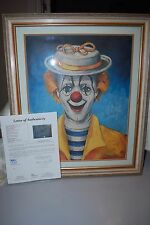 """Autographed Red Skelton Lithograph - """"Girl Clown""""  Letter of Authenticity!"""