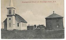 1909 Halftone Photo Postcard Congregational Church and Parsonage Oriska ND