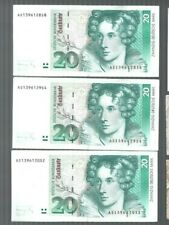 Germany ✨ 1991 20 mark x 3 pcs RUNNING SERIAL NUMBER ✨Collection & lot