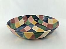 """Tabletops Unlimited Carnival Festive Serving Bowl 13"""" Hand Painted"""