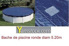 BÂCHE DE PISCINE D. 5,20 m POUR PISCINE 4,55 m RONDE HIVERS HORS-SOL COUVERTURE