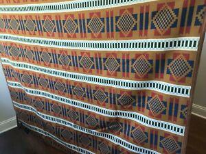 "New Pendleton Jacquard Throw - Copper - 68"" x 57"" Blanket Cotton Wool Brown Blue"