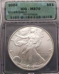 2004 ICG MS70 Certified American Silver Eagle Dollar S$1 - TOP GRADE