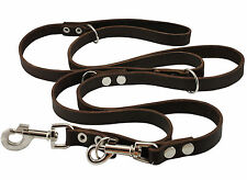 """Real Leather Dog Leash Schutzhund 6-Way European 49""""up to 94"""" long 3/4"""" Brown"""