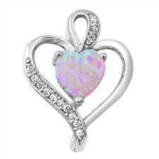 Double Heart in Pink Opal with CZ .925 Sterling Silver Pendant