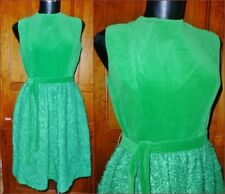 VTG 60s MOD Neusteters Green Velvet Boucle Knit Holiday Cocktail Party DRESS