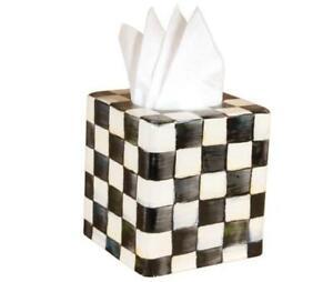MacKenzie-Childs Courtly Check Enamel Tissue Box Cover