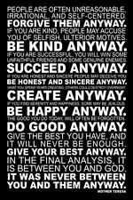 Mother Teresa ANYWAY Classic Forgiveness Inspirational Poem 24x36 WALL POSTER