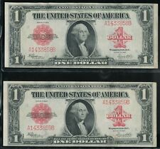 (2) 1923 $1 Large Size Red Seal United States Notes Consecutive Serial Numbers!