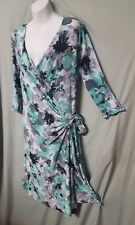 "42"" LONG DRESS SIZE SMALL BLACK WHITE GREEN  LONG SLEEVE WRAP DRESS 42"" BUST"