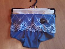 M & S 2 pack lace effect Lulu embroidery short style knickers size 6