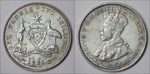 Australia. 1931 Florin - EF - 8 PEARLS - GOOD LUSTRE & DETAIL (KI28)