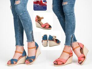 WOMENS-LADIES WEDGE PLATFORM SANDALS,ESPADRILLES ANKLE STRAP NEW*UK STOCK