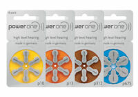 60 PowerOne Hearing Aid Batteries SIZE 10, 13, 312, Implant Made in Germany