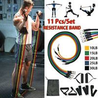 11PCS Resistance Band Tube Heavy Duty Power Gym Exercise Yoga Training Fitness