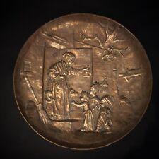 Rare XIXe MAX CLAUDET (1840-1893) plat bas-relief en bronze, Enfants Rois Mages