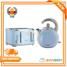 Russell Hobbs Bubble 1.5L Kettle Set & 4 Slice Toaster Set Kitchen Set In Blue